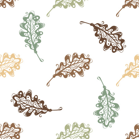 oak: Seamless pattern of vintage oak leaves. Vector nature background.