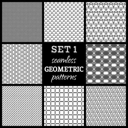 boundless: SET 1. Seamless geometric patterns. Various black and white boundless backgrounds.