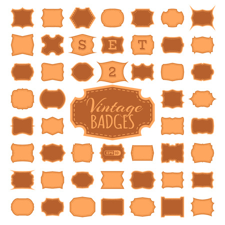 2 50: SET 2. 50 vintage badges. Bright duotone retro borders frames tags labels design. There is place for text.