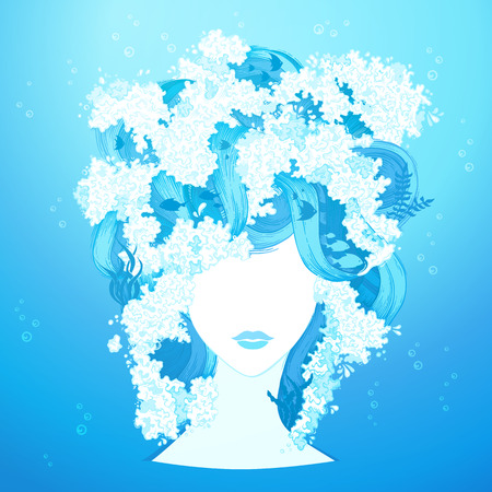 wet girl: Water woman illustration. Underwater life in hair. Vector illustration.