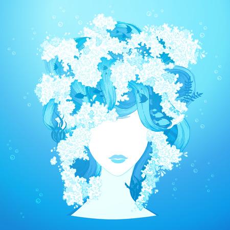 woman underwater: Water woman illustration. Underwater life in hair. Vector illustration.