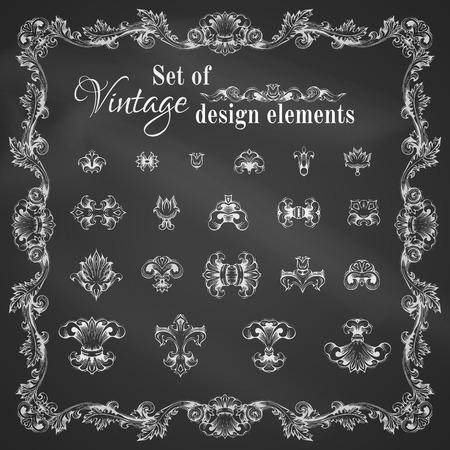 antik: Chalk handdrawn Design-Elemente auf Tafel. Illustration