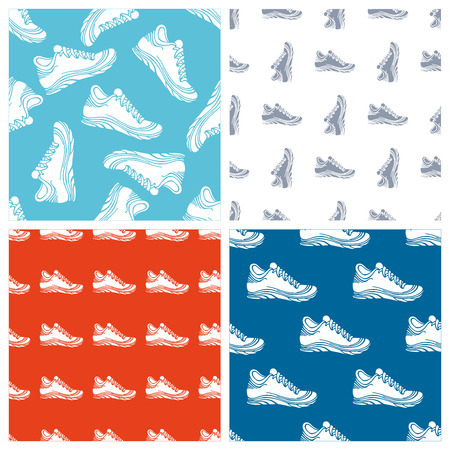 duotone: Vector set of seamless shoes patterns. Duotone sport backgrounds. Bright colours. Illustration
