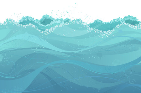 tranquillity: Vector water background. Abstract illustration of waves with copy place for text.