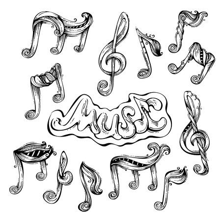 Vector set of vintage music icons. Black handdrawn music symbols isolated on white background. Illustration