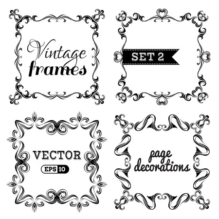chapter: Ornate frames and page decorations isolated on white background. There are places for text.
