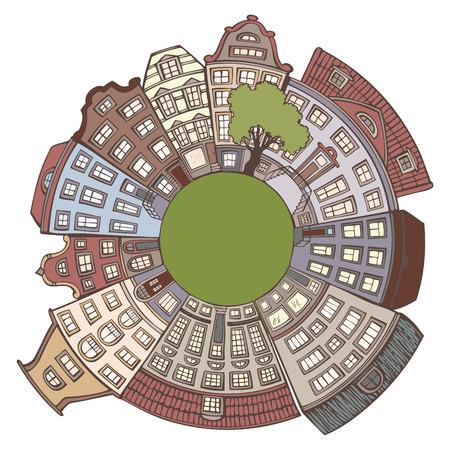 round window: Round urban landscape. World in cartoon style. Handdrawn houses. Illustration