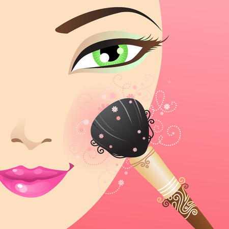 beautify: Woman applying blusher. Vector beauty illustration with floral vintage elements.