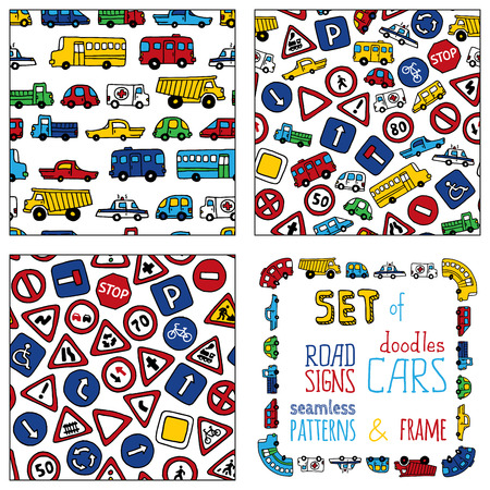 Vector set of doodles road signs and cars. Set of seamless patterns and frame isolated on white background. Seamless patterns can be used for children wallpapers web site background or wrapping paper. Vector