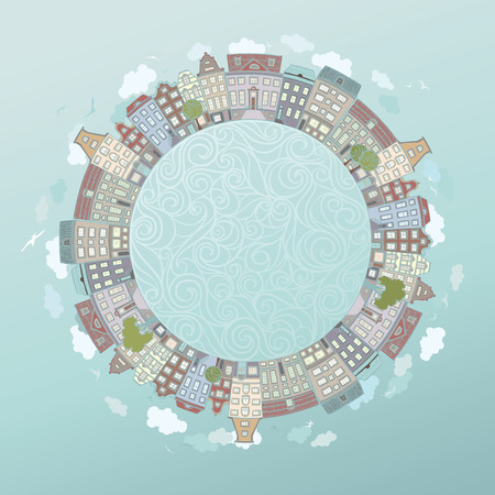 realty residence: Round urban landscape. Handdrawn houses birds clouds and trees. There is place for your text in the center.