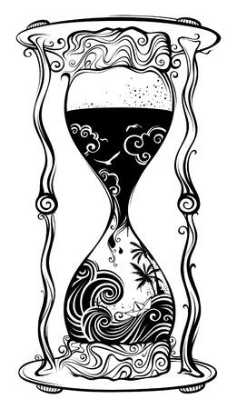 Water sandglass. Black and white handdrawn illustration. 矢量图像
