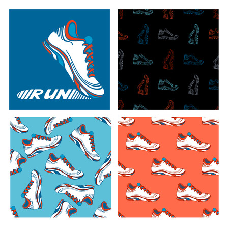 blue shoes: Running shoe designs. Set of seamless sport patterns and running shoe symbol. Illustration
