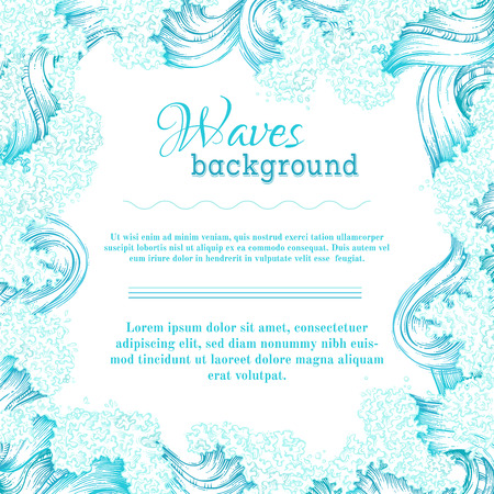 Vector blue and white waves background. Oceansea handdrawn decorative frame. There is place for text in the center.