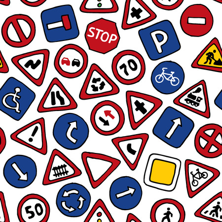 Seamless pattern of road signs. Vector handdrawn background for your design.