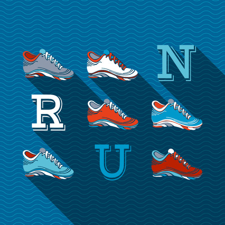 run: RUN Flat sport design with long shadow. Running shoes and text