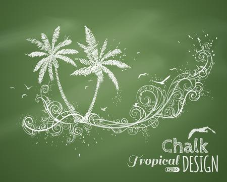 arbres silhouette: Chalk illustration tropicale. Vecteur élément de conception sur greenboard fond. Il est exemplaire place pour le texte. Illustration