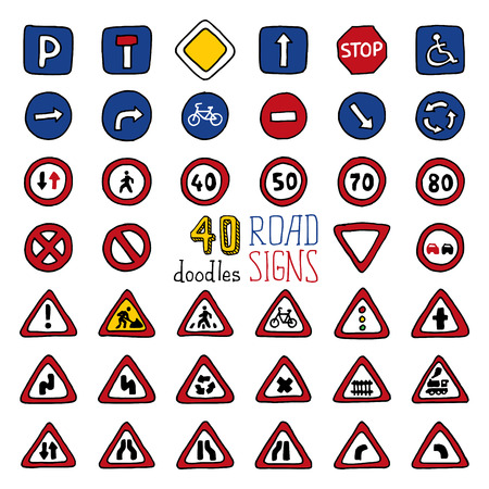Vector set of doodles road signs. Handdrawn design elements isolated on white background.