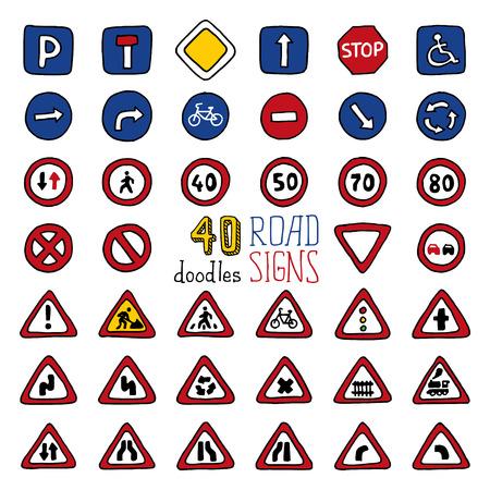 Vector ensemble de signes griffonnages de la route. Éléments de conception Handdrawn isolé sur fond blanc. Vecteurs