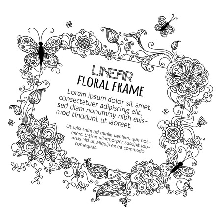 black and white line drawing: Floral blank sign