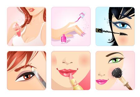 cheeks: set of make-up square icons