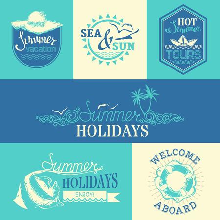 estate: set di etichette d'estate ed emblemi Vettoriali