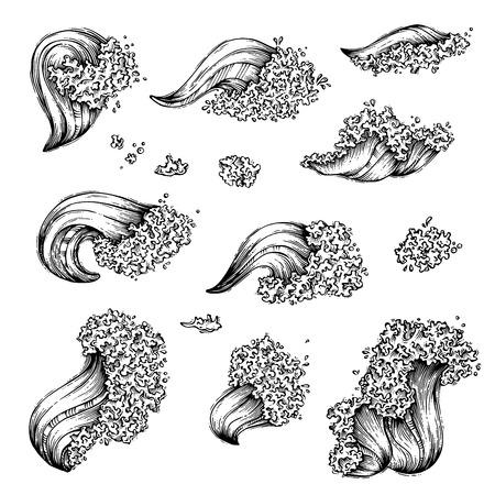 ocean waves: set of sea or ocean waves Illustration