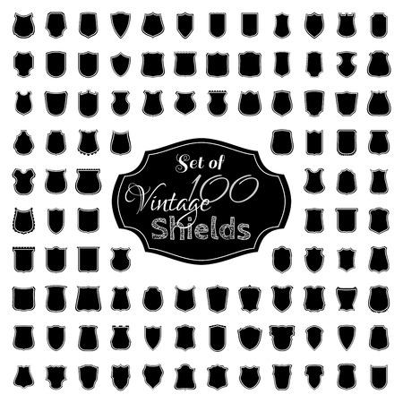shield set: Black heraldic shield silhouettes Illustration