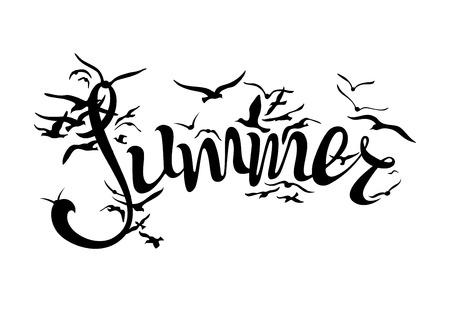 """bandada pajaros: gaviotas volando de la palabra """"verano"""" aislado en el fondo blanco Vectores"""