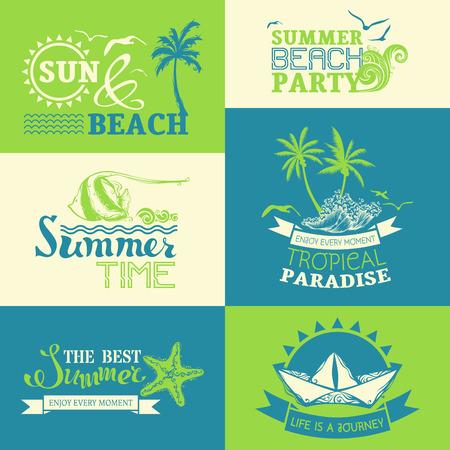 olas de mar: conjunto de etiquetas y símbolos de verano y viajes