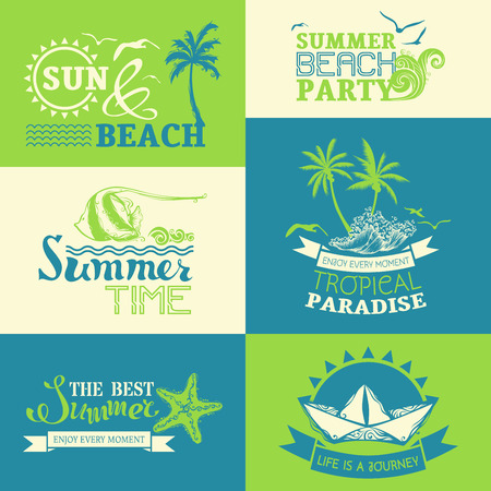 ocean waves: set of summer and travel labels and symbols