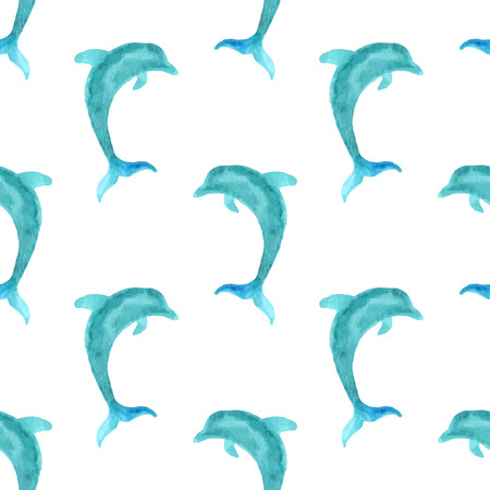 watercolour: Seamless watercolour dolphin pattern. Blue watercolour dolphins on white background. Boundless background for your design. Boundless pattern can be used for web page backgrounds, wallpapers, wrapping papers, invitation and summer designs.