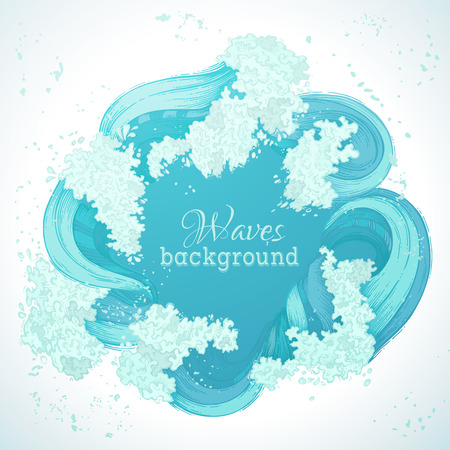 ocean: Vector circle waves frame. Seaocean decorative illustration. There is place for text in the center.