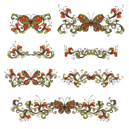 butterflies for decorations: Set of bright floral design elements and page decorations. Flowers and butterflies. Vintage ornaments and page dividers for invitations and congratulations.