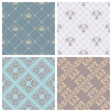 patterns vector: Vector set of retro seamless patterns. Vintage designs can be used for web page backgrounds, wallpapers, wrapping papers, invitation or greeting cards. Illustration