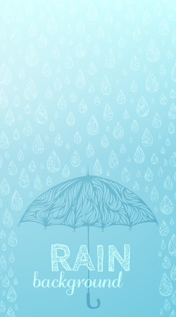 wet: Rain background. Blue wet background. Ornate rainy drops and umbrella. There is place for your text on background.