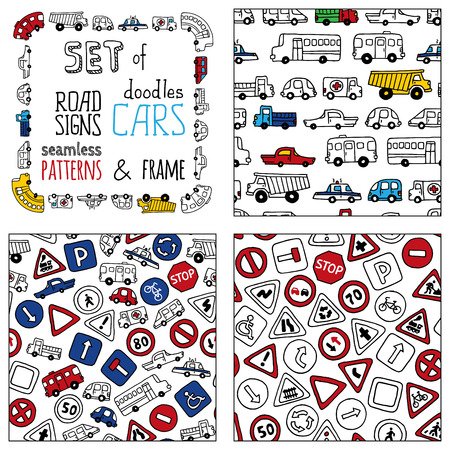 bus parking: Vector set of doodles road signs and cars. Set of seamless patterns and frame isolated on white background. Seamless patterns can be used for children wallpapers, web site background or wrapping paper. Illustration