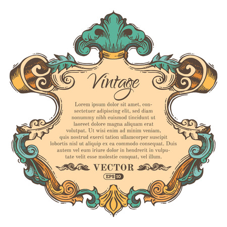 vintage border: Vector vintage border frame isolated on white background. Retro hand-drawn badge with retro ornament for page decoration, invitation, congratulation or greeting card. There is place for your text. Illustration