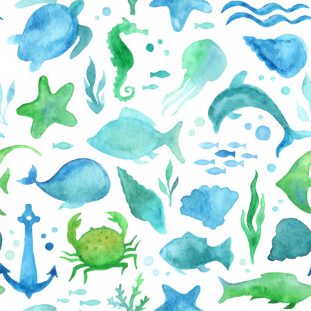 Seamless watercolor sea life pattern. Various watercolour fish, sea horse, jellyfish, dolphin, turtle, starfish, crab, whale, shell, algae, anchor, waves on white background. Boundless pattern can be used for web page backgrounds, wallpapers, wrapping pap