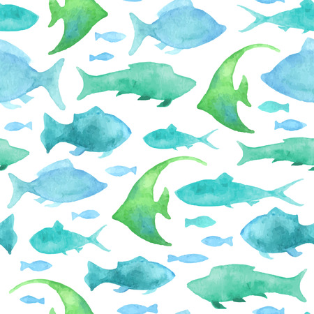 Seamless watercolour fish pattern. Blue watercolor fishes on white background. Boundless background for your design. Illustration