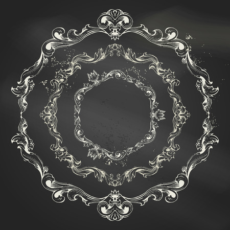 white victorian old retro vintage: Vector set of circle chalk frames. Vintage frames and page decorations on blackboard background. There is place for your text in the center.