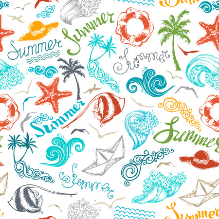 travel backgrounds: Bright seamless summer pattern. Set of summer and travel symbols and hand-written summer lettering on white background. Boundless texture can be used for web page backgrounds, wallpapers, wrapping papers or invitations.