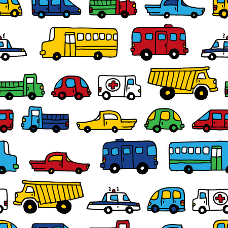 Seamless pattern of doodles cars. Vector bright background in cartoon style. Can be used for children wallpapers, web site background or wrapping paper.
