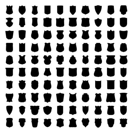 sencillez: Vector conjunto de 100 siluetas escudo heráldico. Retro etiquetas de estilo, etiquetas, insignias, sellos, las fronteras y emblemas conjunto. Vectores