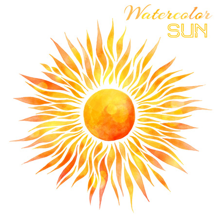 Watercolor sun vector illustration. Hand-drawn bright watercolor sun isolated on white background.