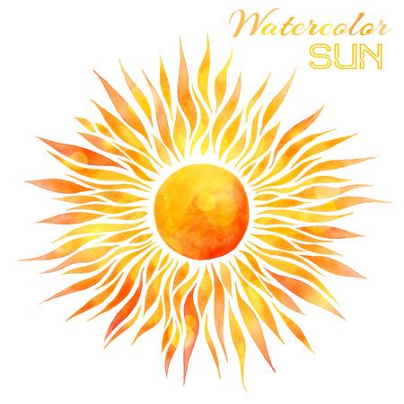 Watercolor zon vector illustratie. Handgetekende aquarel felle zon op een witte achtergrond.