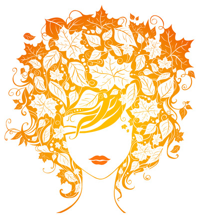 autumn woman: Autumn woman. Bright illustration of woman with leaves in her hair isolated on white background.