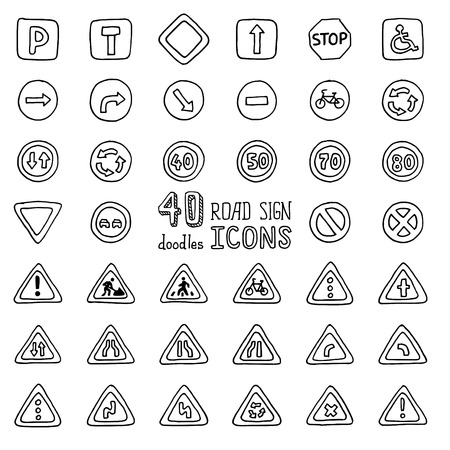 cartoon road: Vector set of doodles road sign icons. Hand-drawn design elements isolated on white background.