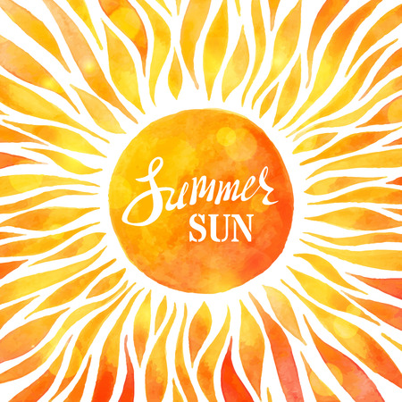 glare: Bright watercolour sunny background. Watercolor sun on white background. Summer rays and glare. There is place for text in the center of sun. Illustration