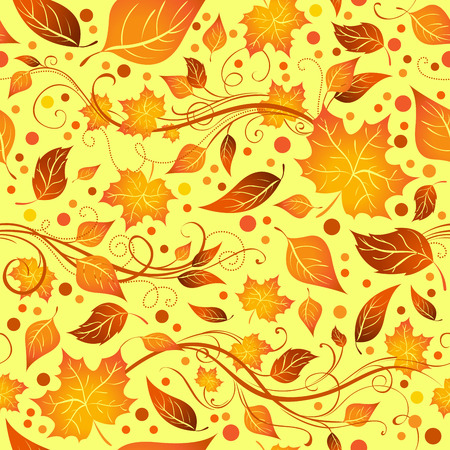 boundless: Seamless autumn pattern. Bright boundless background of leaves for your design.