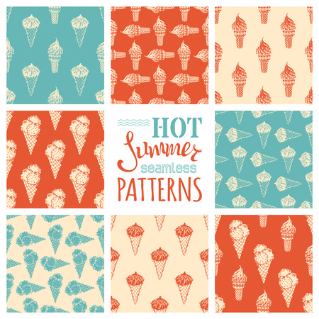 boundless: Set of seamless ice-cream cones patterns. Retro boundless backgrounds. All boundless backgrounds are included in swatches palette. Can be used for children wallpapers, web site background or wrapping paper. Illustration